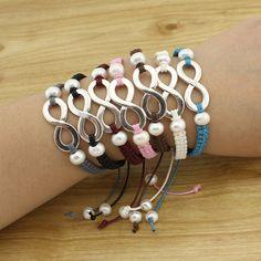 5 friendship bracelets, string bracelet, braided bracelet, endless cuff, woven bracelet, thread bracelet, pearl bracelet B372