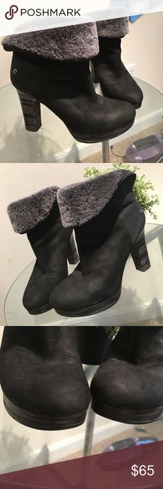 Sheepskin woodgrain UGG heeled booties Worn once - elegant UGG Shoes Heeled Boots
