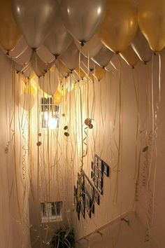 GT Grad Party - wake up to gold and white balloons Champagne party part 2