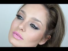 Silver Glitter Liner and Bubble Gum Lips Makeup Tutorial