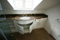 Vanity unit with shaped front and marble top Vanity Units, Marble Top, Bathroom Furniture, Joinery, Sink, The Unit, Home Decor, Sink Tops, Homemade Home Decor