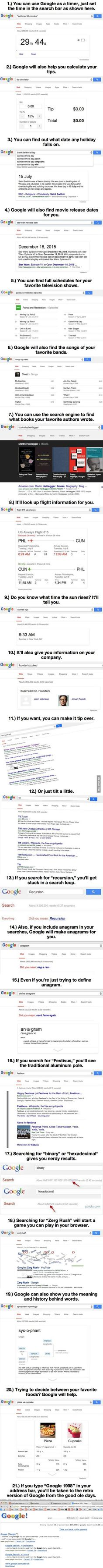 21 Google Hacks Will Blow Your Mind: http://scout.cheatsheet.me/21-google-hacks-will-blow-mind-14-made-day/: