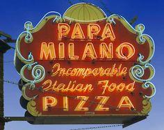 Papa Milano Icomparable Italian Food Pizza - Retron Neon Sign. Chicago, Illinois