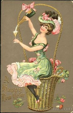 A Happy New Year Postcard .A Lady serving Champagne. Vintage Happy New Year, Merry Christmas And Happy New Year, Christmas Art, Vintage Christmas, Vintage Artwork, Vintage Prints, French Artwork, Vintage Cards, Vintage Postcards