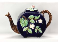 Probably J. Roth Majolica Flat Sided Majolica Blossoming Branch Tea Pot.Late 19th C.