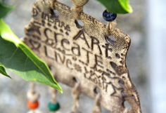 INSPIRATIVE WORDS Tribal Wall hanging Stoneware by HappyFishThings, $25.00