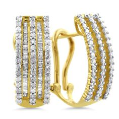 Gorgeous! I adore the striped effect between the diamond rows &'gold. 10K Yellow Gold 0.50 Carat Diamond Hoop Earrings (I-J, I2-I3)