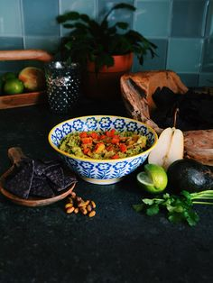 Winter Guacamole With Roasted Butternut Squash and Poached Pears