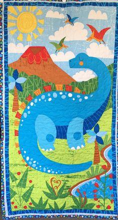Baby Boy Dinosaur Quilt Blanket Blue Green Red White
