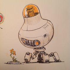 wall e concept art robot Robot Concept Art, Game Concept Art, Character Concept, Character Art, Robots Drawing, Book Drawing, Illustration Sketches, Illustrations, Cool Robots