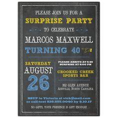 Chalkboard Typography Birthday Invitations