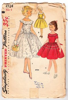 Vintage 1954 Simplicity 4724 Sewing Pattern by SewUniqueClassique