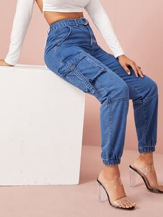 Flap Pocket Buckle Belted Cargo Jeans Check out this Flap Pocket Buckle Belted Cargo Jeans on Shein and explore more to meet your fashion needs! Jeans Pant For Girl, Girls Pants, Mom Jeans, Blue Jeans, Cargo Jeans, Romwe, Black One Piece Swimsuit, Type Of Pants, Mode Online