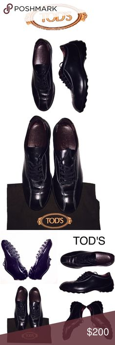 Tod's Leather Sneakers/Lace Up Tod's lace up in black leather with white stitching and their signature pebbled rubber sole. Worn infrequently. Normal leather wrinkling by toe bend and wear on heel. Polish occasionally with mink oil to condition and waterproof. Box, extra laces, and dust bag included. Price firm. Tod's Shoes Sneakers