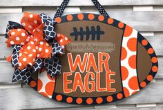 Wooden Door Hangers for Holidays & Special Events by SparkledWhimsy Burlap Door Decorations, Burlap Door Hangers, Painted Doors, Wooden Doors, Auburn Alabama, Auburn Football, Football Door Hangers, Burlap Projects, Craft Projects
