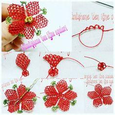 Kırmızı yapraklı çiçek oyası