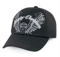 Harley-Davidson® Women's Harley-Davidson® Women's Rhinestone Wing Black Baseball Cap 99420-12VWWing Baseball Cap Black 99420-12VW