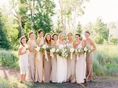 Gorgeous taupe, nude, and cream bridesmaid dresses at this St. Regis Deer Valley wedding. Dreamy!