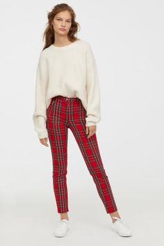 Browse our range of clothes for women. Patterned Pants Outfit, Red Plaid Pants, Striped Dress Outfit, Plaid Pants Outfit, Plaid Jeans, Trouser Outfits, Winter Skirt Outfit, Plaid Outfits, Edgy Outfits