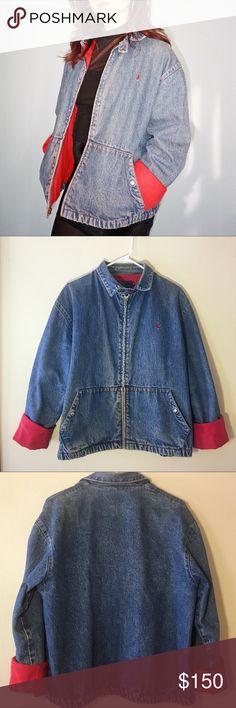 POLO Ralph Lauren denim jacket - Red Suede Vintage POLO by Ralph Lauren denim jacket with red suede interior! Polo by Ralph Lauren Jackets & Coats Bomber & Varsity