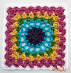 Block #6 for the 2015 Moogly Afghan CAL - Solstice Sun Rising! Free Crochet Granny Afghan Square Pattern