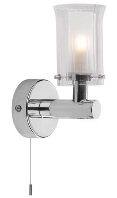 A bathroom wall light in polished chrome with a pullcord switch. IP44 rated. sherwoodlighting.co.uk