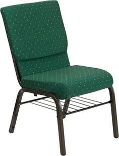 18.5'' Fabric Church Chair w/4.25'' Thick Seat, Book Rack - Gold Vein Frame