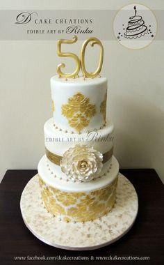 A three tier anniversary cake, created using white and golden fondant. Wedding Anniversary Cake Image, 50th Anniversary Cakes, Elegant Wedding Cakes, Elegant Cakes, Engagement Cakes, Wedding Cake Decorations, Cake Images, Celebration Cakes, Birthday Celebration