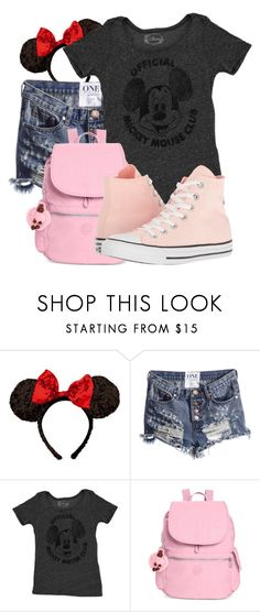"""Park Trip #49"" by basic-disney ❤ liked on Polyvore featuring Disney, Kipling and Converse"