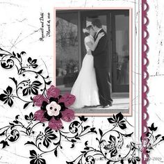Vintage vogue wedding page...a scrolling flowered vine sets off this b/w portrait perfectly. The purple flower embellishment and punched scalloped edging adds a nice pop of color.