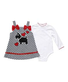 Take a look at this White Bodysuit & Red Dog Plaid Dress - Infant by Youngland on #zulily today!