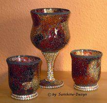 Mosaikglas - Windlichter 3teilig Kelch + 2 Gläser