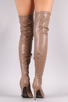 Breckelle Stretch Leather Pointy Toe Stiletto Heel Boots #stilettoheelsoutfit #stretchingshoes