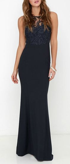 Like a beautiful meadow lark, you'll make a sweeping entrance in the Oak and Elm Navy Blue Lace Maxi Dress! A rounded neckline and sheer lace decolletage join a sleeveless, sweetheart bodice, complete with flattering princess seams. Fitted waist introduces an elegant woven maxi skirt, for a silhouette that is sure to stun. #lovelulus