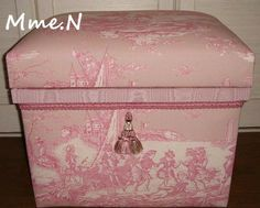 """création d'une cliente """"Chabako"""" tissu toile de Jouy Histoire d'Eau (fond rose) お客様の作品「お茶箱」トワルドジュイ布:水の物語(ピンクベース)"""