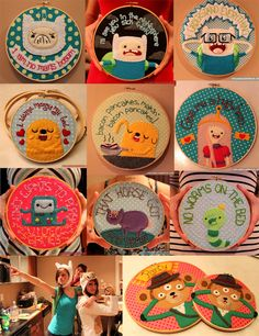 All the Adventure Time hoops I've done so far, plus a picture of my little sister & I as Fiona and Cake thrown in there. All my Adventure Time Hoops Embroidery Art, Cross Stitch Embroidery, Embroidery Patterns, Funny Embroidery, Adventure Time Art, Adventure Quotes, Pattern Quotes, Jake The Dogs, Art Plastique