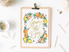 Squeeze the Day Calligraphy Watercolor Citrus Lemon Orange Art Print