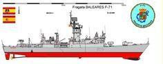 Perfiles navales.FRAGATA BALEARES F-71 1973 La clase Baleares designaun grupo de fragatas lanza misiles de la Armada española que estuvieron en servicio el último tercio del siglo XX.