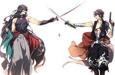 Izuminokami Kanesada x Yoshiyuki Mutsunokami Manga Boy, Manga Anime, Touken Ranbu Kanesada, Mutsunokami Yoshiyuki, Handsome Anime, Boy Art, Anime Comics, Anime Guys, Sword