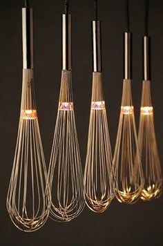 – 80 kreative Upcycling-Ideen oh, lighted whisks, i love this! could look cheesy though, in a very minimalistic and very clean kitchen above an island, it would be lovely Related Post Facade design Kitchen Lighting, Home Lighting, Lighting Design, Pendant Lighting, Lighting Ideas, Pendant Lamps, Modern Lighting, Garage Lighting, Overhead Lighting