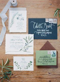 Organic wedding #invitations | Read More: http://www.stylemepretty.com/california-weddings/2014/07/23/organic-dinner-party-wedding-inspiration/ | Photography: Bryan N. Miller Photography - bmillerweddings.com