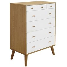 Oslo 7 Drawer Tallboy  Oak/White