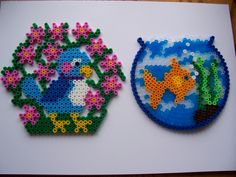 Easily Kept Pets! - Bird and Fish hama perler beads by Shazann