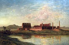 Egypt , Old Cairo Paintings: Ernest Karl Eugen Koerner (German, 1846-1927) - Ancient ruins on the banks of the Nile 1923.
