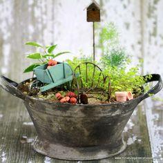 Miniature Garden Antique Blue Wheelbarrow