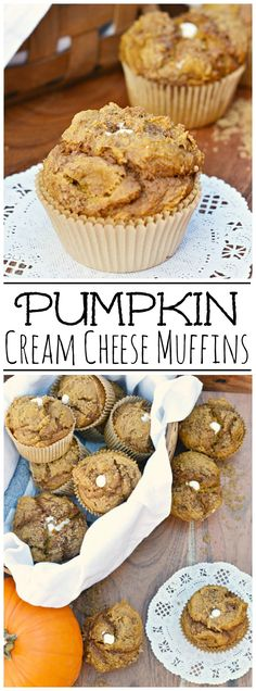 Pumpkin and cream cheese muffins. Try this simple recipe for the moist and delic… Pumpkin and cream cheese muffins. Try this simple recipe for the moist and delicious muffins that make the perfect fall treat! Zucchini Muffins, Muffins Blueberry, Almond Muffins, Healthy Muffins, Pumpkin Recipes, Fall Recipes, Holiday Recipes, Holiday Desserts, Quick Recipes