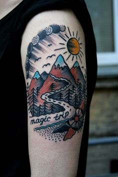 traditional tattoo mountains