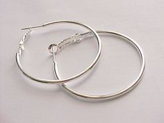 "1 1/2"" silver plated hoop earrings #Unbranded #Hoop"