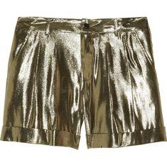 Skaist-Taylor Metallic silk-blend lamé shorts ($495) ❤ liked on Polyvore
