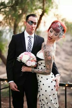 Cherry Dollface wedding picture. She looks absolutely stunning.! #rockabilly #wedding #hair #makeup
